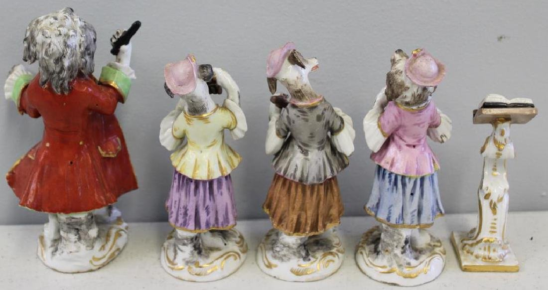 Paris Porcelain ?. 7 Dog Band Figures and The Stand. - 8