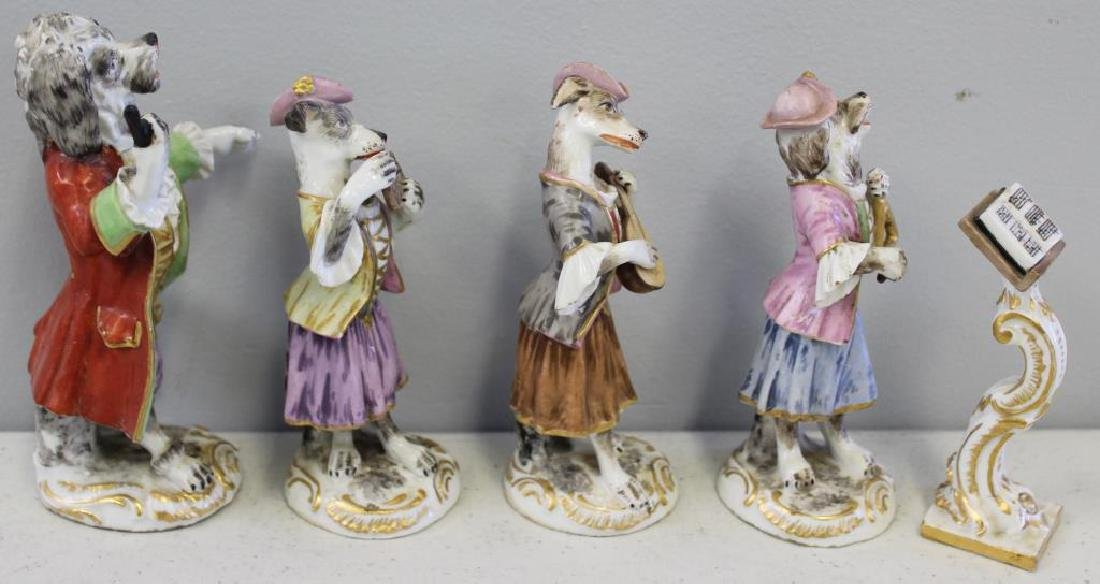 Paris Porcelain ?. 7 Dog Band Figures and The Stand. - 9