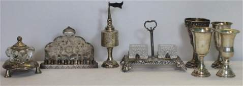 JUDAICA. Assorted Grouping of .925 & .800 Silver.
