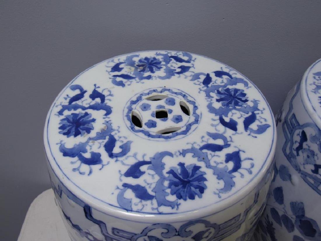 Four Blue and White Chinese Garden Stools. Modern. - 10
