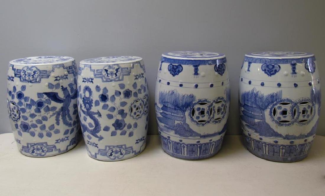 Four Blue and White Chinese Garden Stools. Modern.