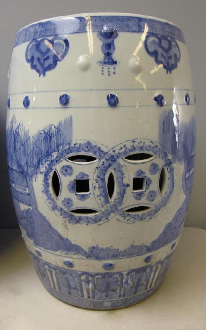 Four Blue and White Chinese Garden Stools. Modern. - 2
