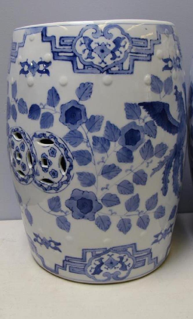 Four Blue and White Chinese Garden Stools. Modern. - 3
