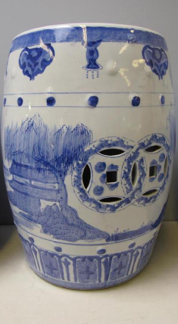 Four Blue and White Chinese Garden Stools. Modern. - 5