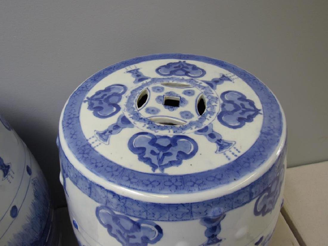 Four Blue and White Chinese Garden Stools. Modern. - 7