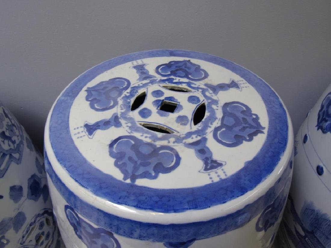 Four Blue and White Chinese Garden Stools. Modern. - 8