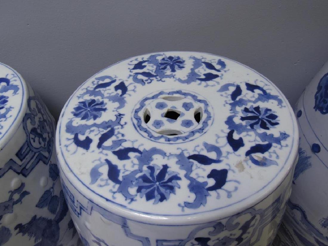 Four Blue and White Chinese Garden Stools. Modern. - 9