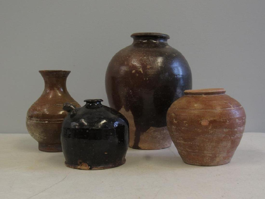 Four Early Tang Style Glazed Vessels.