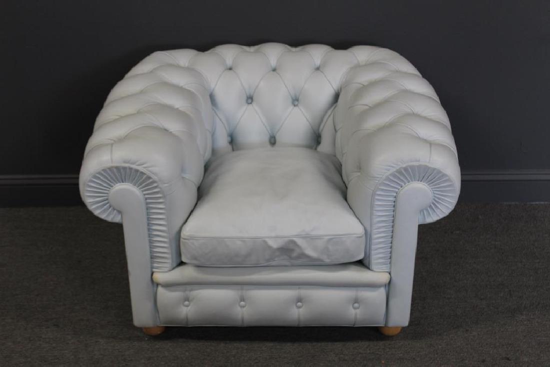 Poltrona Frau. Signed Pale Blue Leather