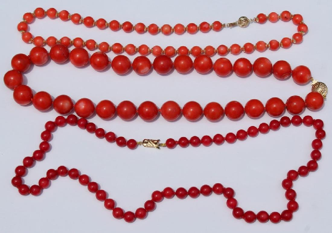 JEWELRY. Grouping of (3) Assorted Coral and 14kt