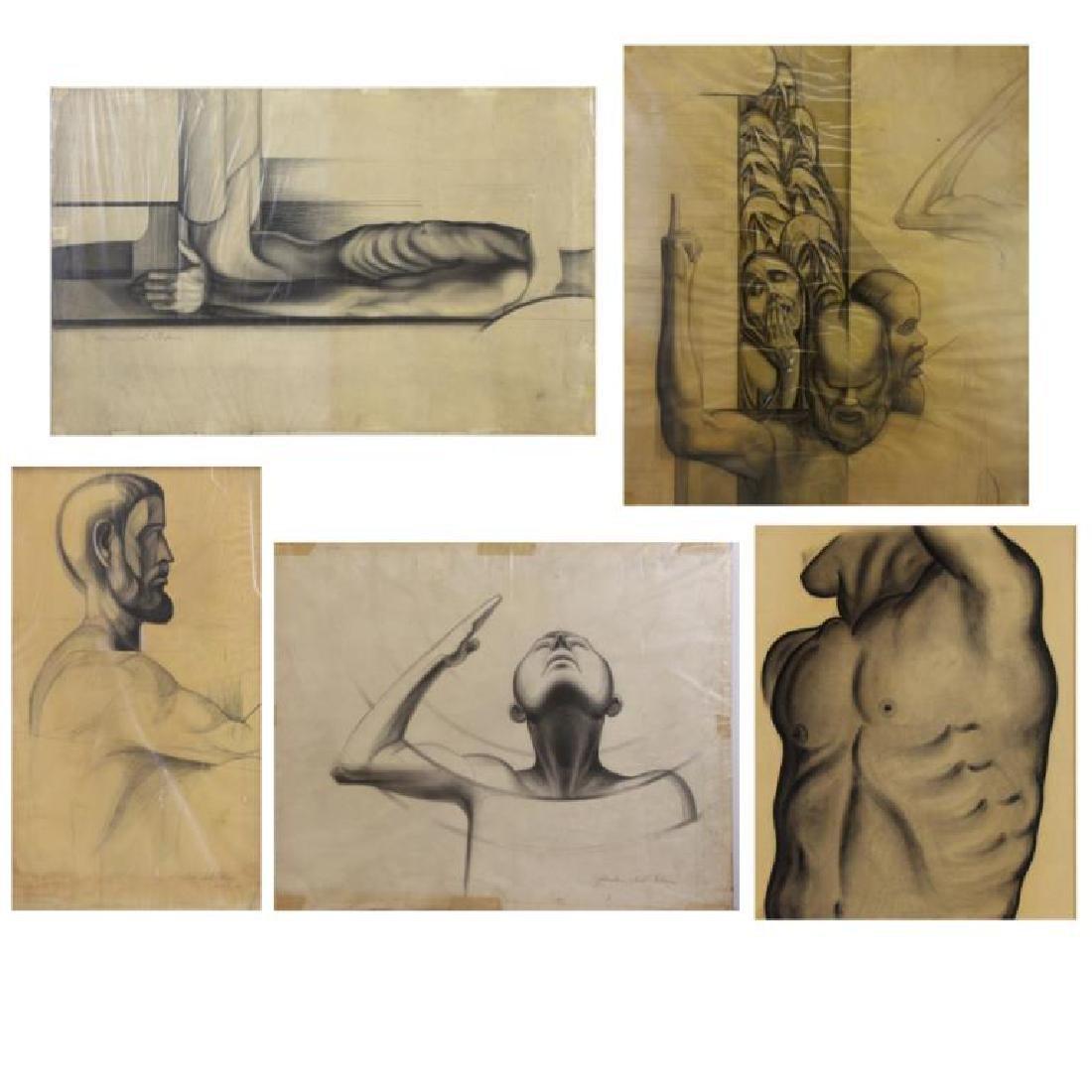 TOBIAS, Abraham. Five (5) Charcoal Drawings.