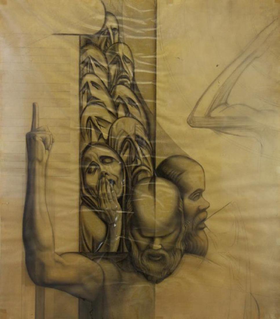 TOBIAS, Abraham. Five (5) Charcoal Drawings. - 9