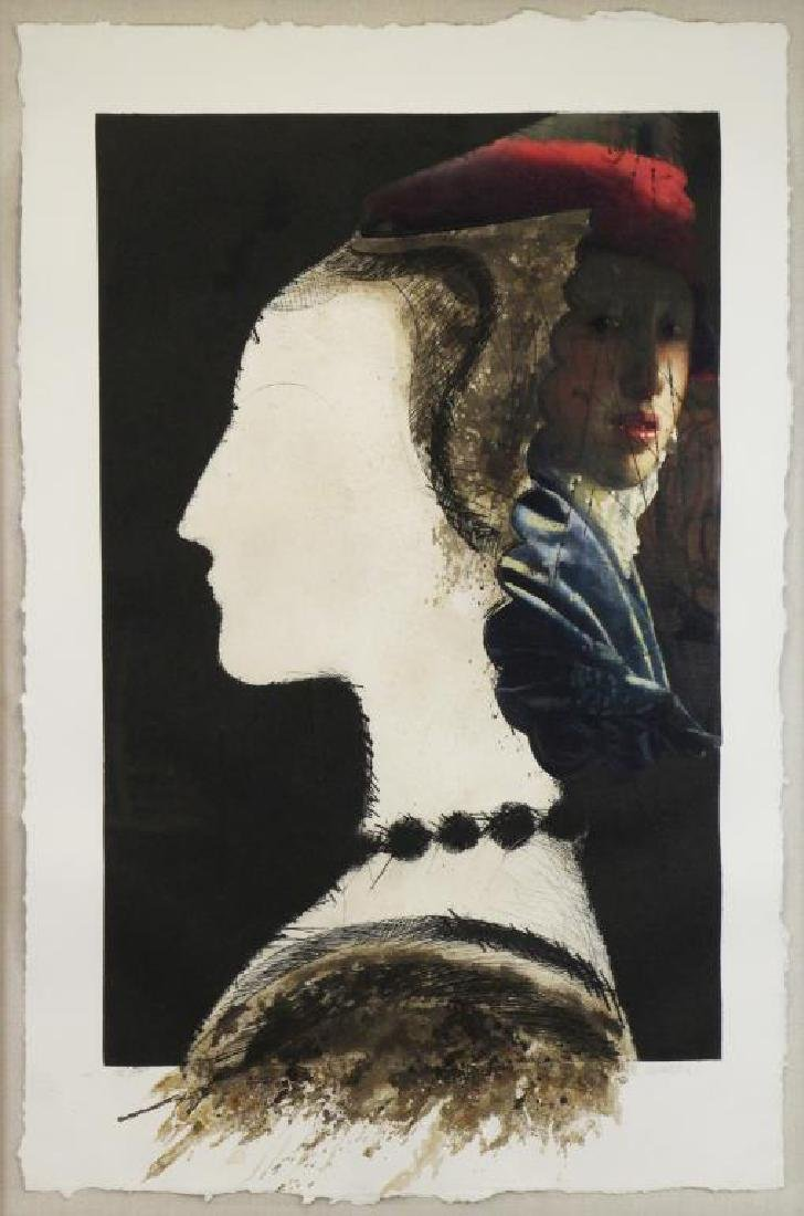 """VALDES, Manolo. Color Etching with Collage. """"Dame"""