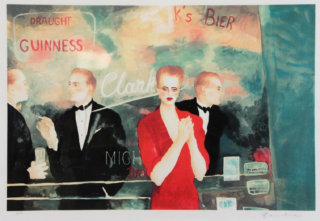 ZJAWINSKA, Joann. Lithograph in Colors. Bar Scene.