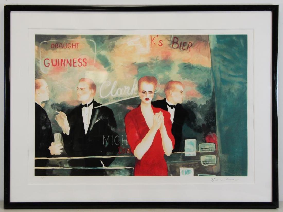 ZJAWINSKA, Joann. Lithograph in Colors. Bar Scene. - 2