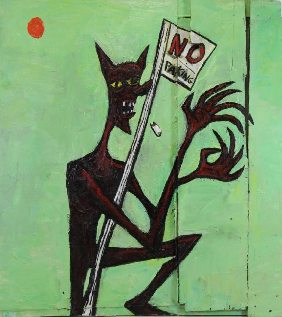 PROL, Rick. Oil on Wood. Untitled (No Parking)