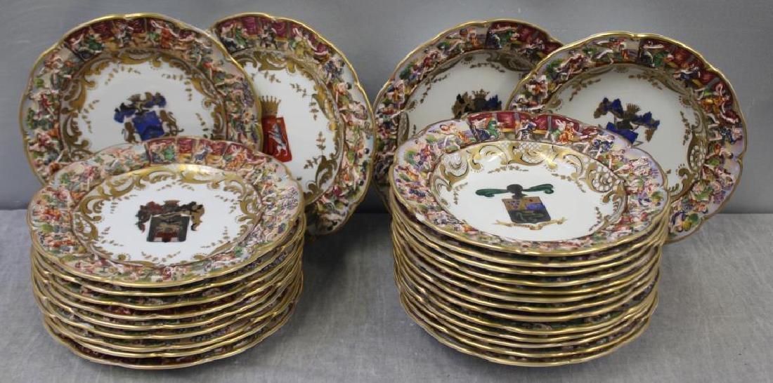 CAPO Di MONTI. Porcelain Armorial Plates & Bowls.