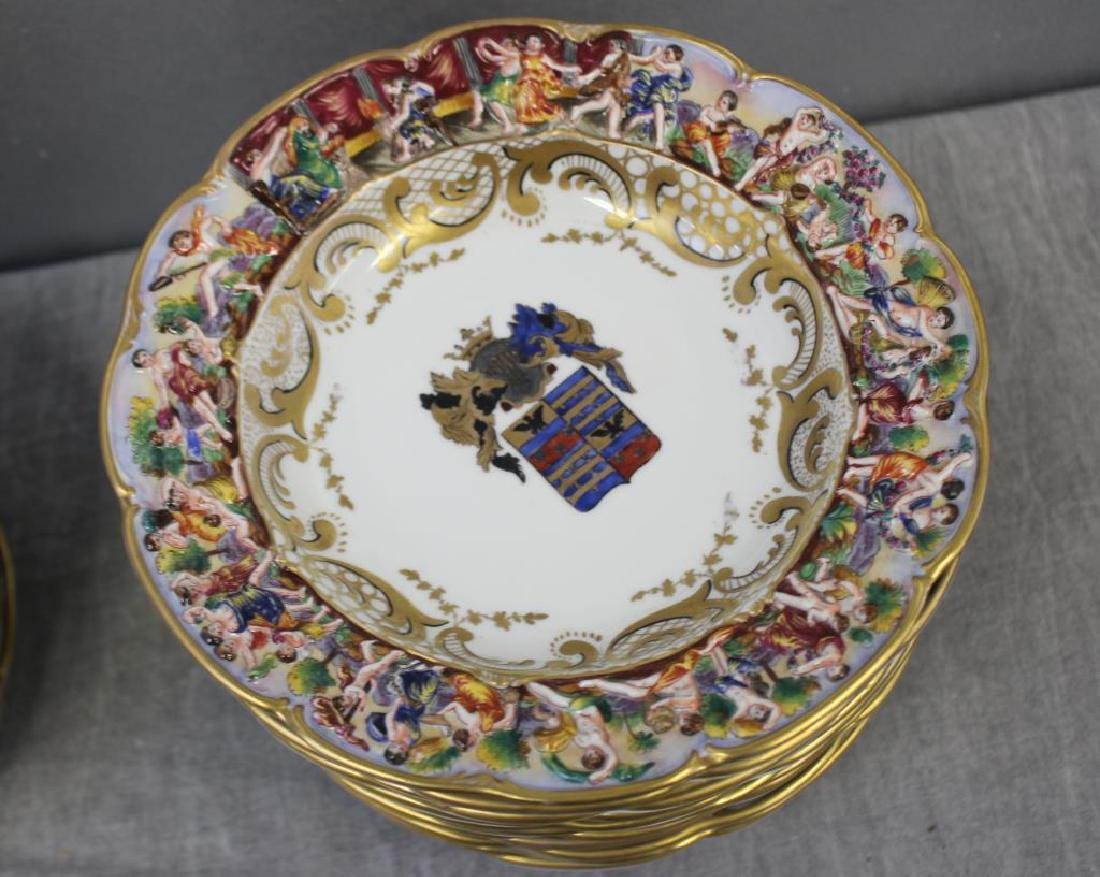 CAPO Di MONTI. Porcelain Armorial Plates & Bowls. - 4
