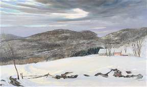 """GERVASI, Frank. Oil on Canvas. """"Winter in the"""