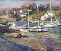 GRUPPE, Robert. Oil on Canvas. Sailboats in the