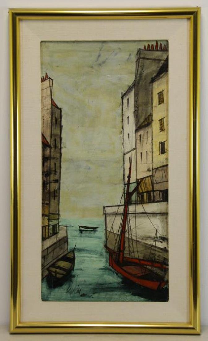 LEVIER, Charles. Oil on Canvas. Boats on the Canal - 2
