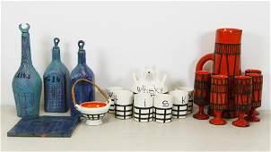 CAPRON, Roger. 3 Glazed Ceramic Decanter Sets.