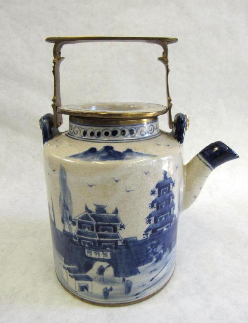 Chinese Metal Mounted Tea Pot.