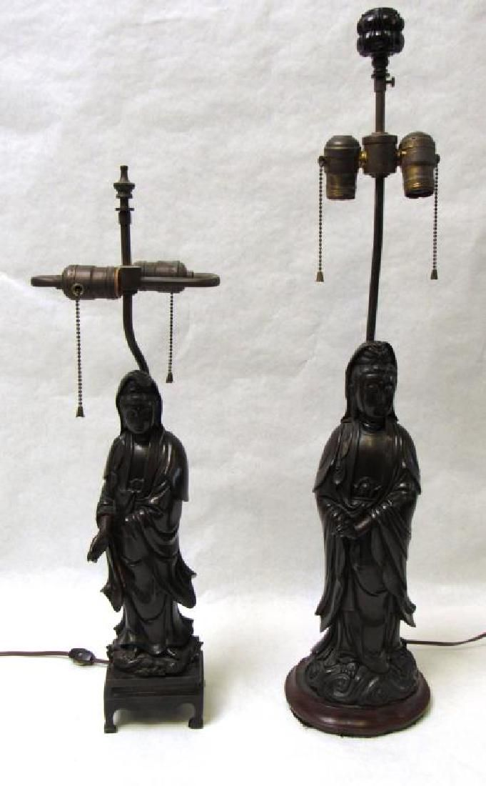 Near Pair of Bronze Figures of Guanyin Mounted as