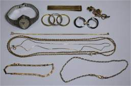 JEWELRY. Assorted Gold and Silver Grouping.