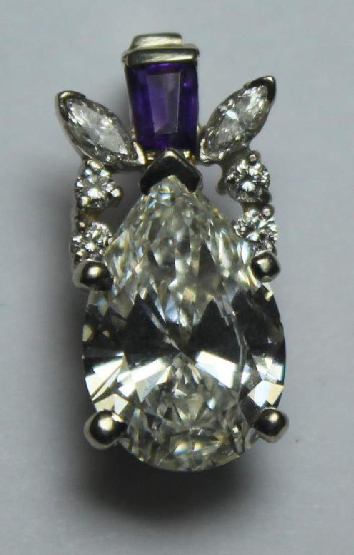 JEWELRY. GIA CERT 2.79 Cttw Pear-Shaped Diamond Pendant