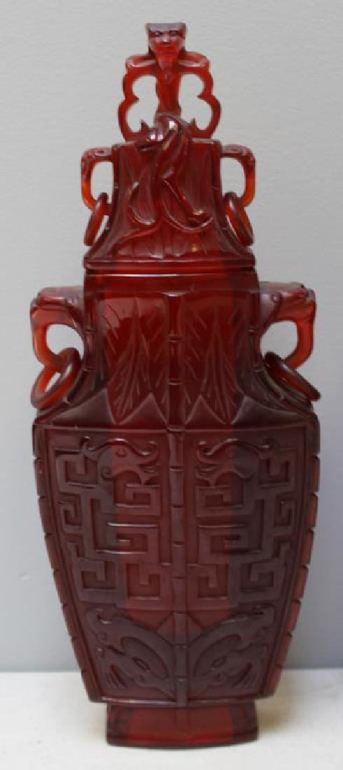 Pair of Carved Chinese Covered Vases. - 2