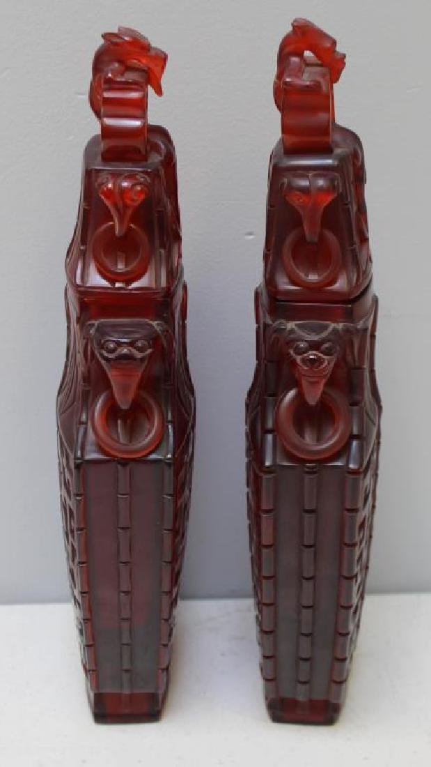 Pair of Carved Chinese Covered Vases. - 3
