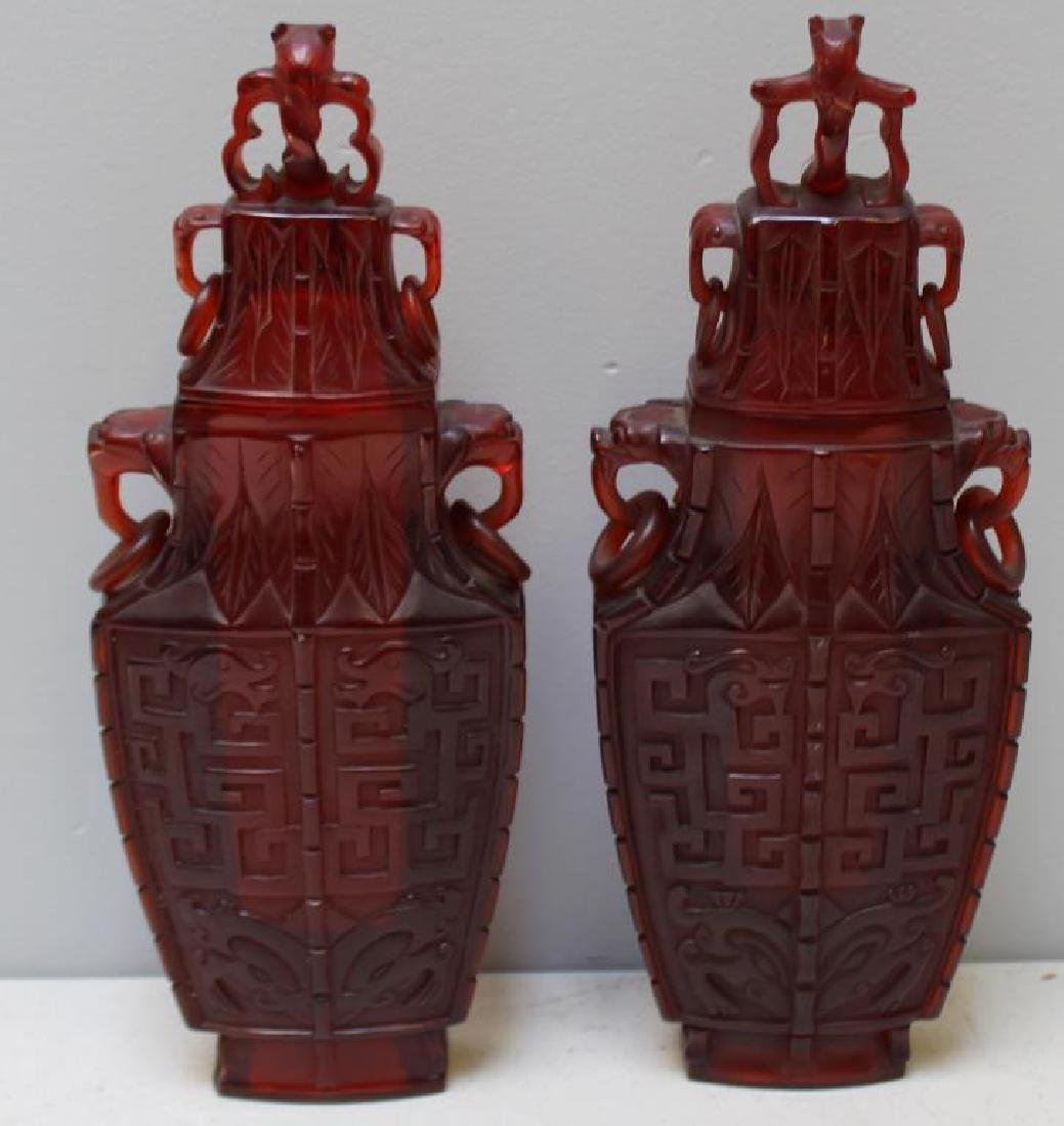 Pair of Carved Chinese Covered Vases. - 4