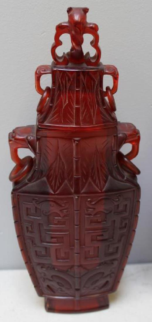 Pair of Carved Chinese Covered Vases. - 5