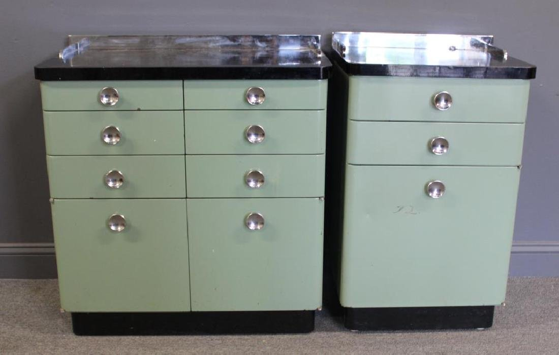 MIDCENTURY/ 2 Industrial Style Enameled Cabinets