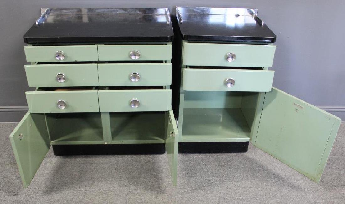 MIDCENTURY/ 2 Industrial Style Enameled Cabinets - 2