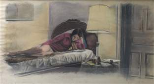 ILLEGIBLY Signed. Pastel on Paper. Woman Reading.