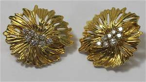JEWELRY. Pair of Dankner 18kt Gold and Diamond Ear