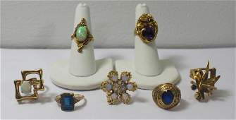 JEWELRY. Assorted Gold and Gem Ring Grouping.