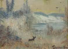 EILSHEMIUS, Louis. Oil on Board. Deer in Landscape