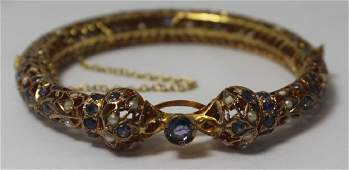 JEWELRY. Vintage Indian 14kt Bracelet with Sapphires