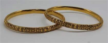 JEWELRY. Pair of 21kt Gold Bangle Bracelets.
