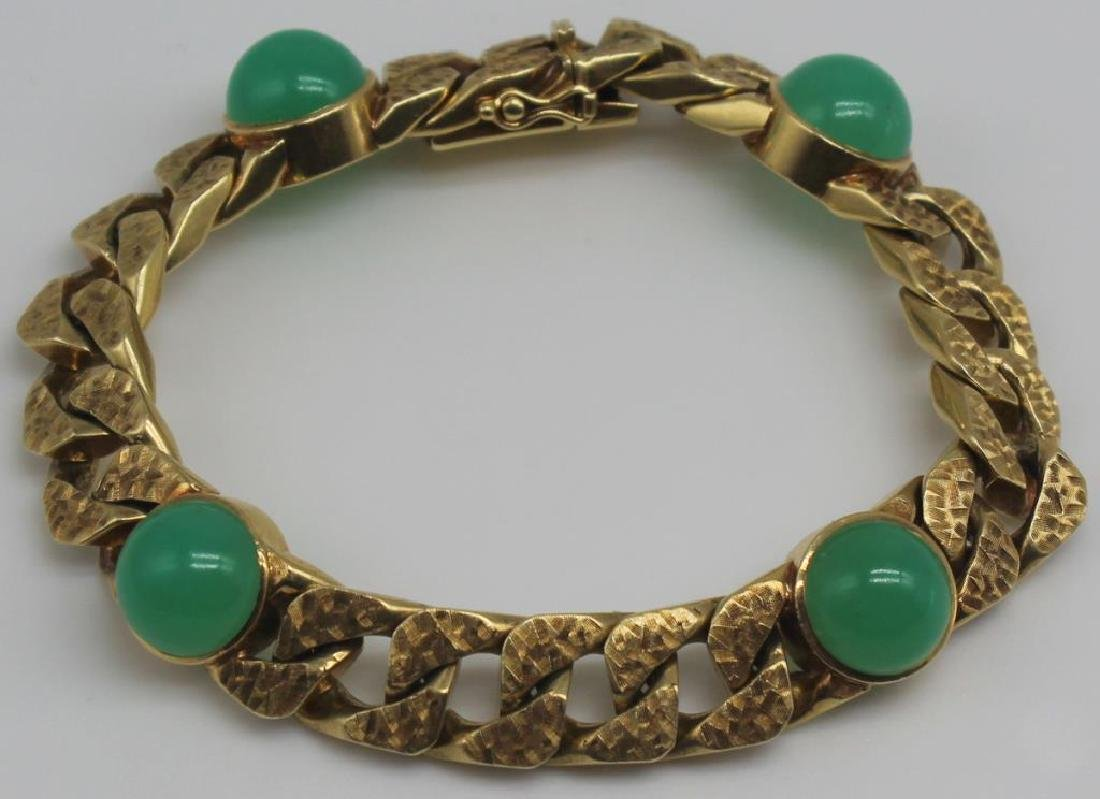 JEWELRY. Signed 14kt Gold and Colored Gem Bracelet