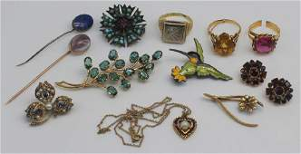 JEWELRY. Assorted Gold and Colored Gem Grouping.