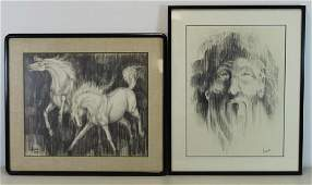 IVAN Lot of Two Charcoal on Paper Drawings