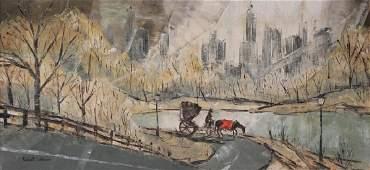 LEBRON Robert Oil on Canvas Central Park