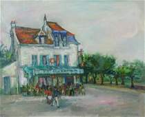 ZUCKER Jacques Oil on Canvas Street Cafe