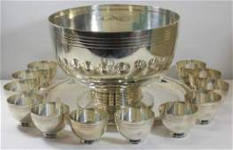 STERLING. Tiffany & Co. Punch Bowl and (12) Cups.