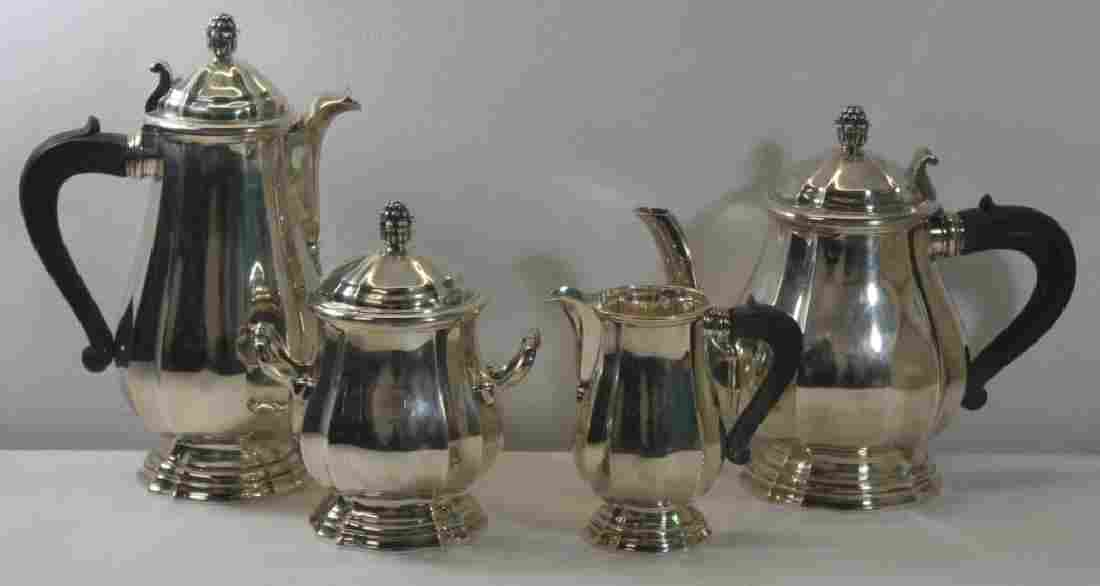 SILVER. French Christofle 4 Piece .950 Silver Tea