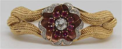JEWELRY 14kt Gold Platinum GIA Diamond and Ruby